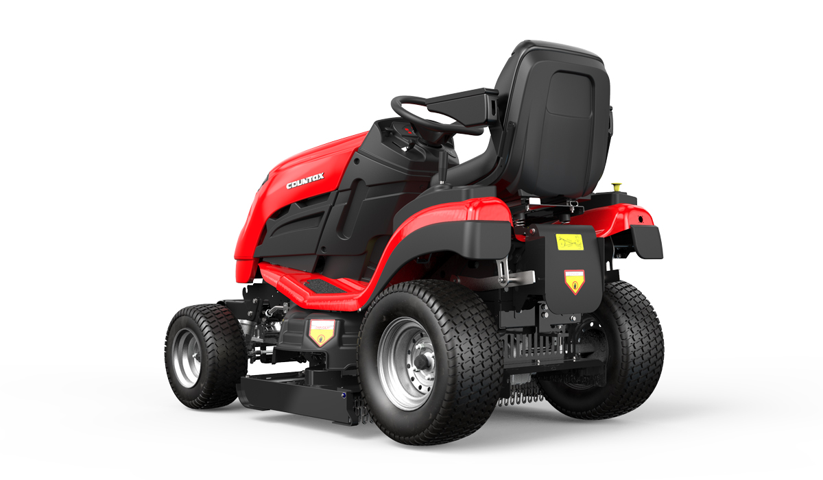 Countax B Series 4WD garden tractor ride on mower with High Grass Mulch deck rear view