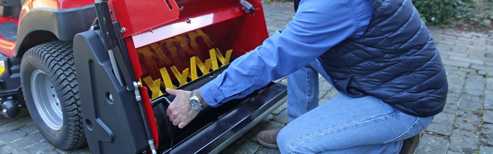 Countax garden tractor PGC+ Grass Sweeper cassette being installed