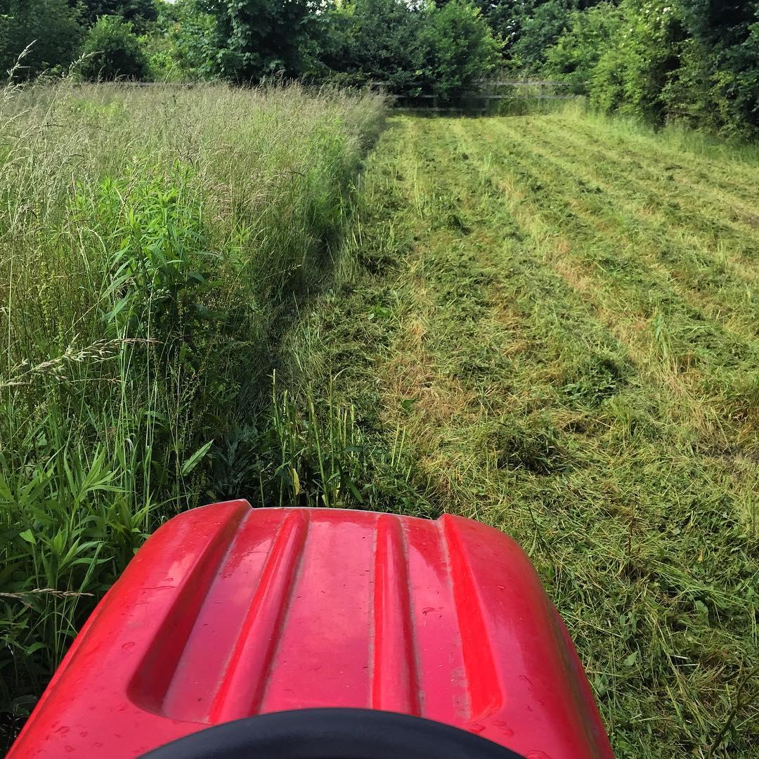 Countax garden tractor cutting tall grass