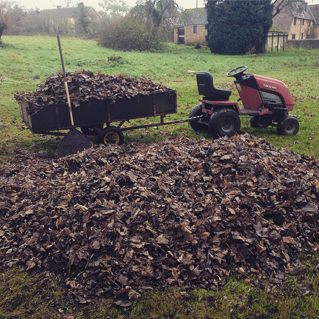 Countax garden tractor with trailer full of leaves