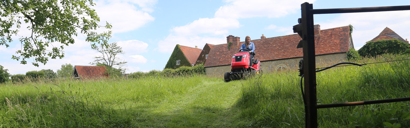 Countax B Series 4WD garden tractor ride on mower at top of slope