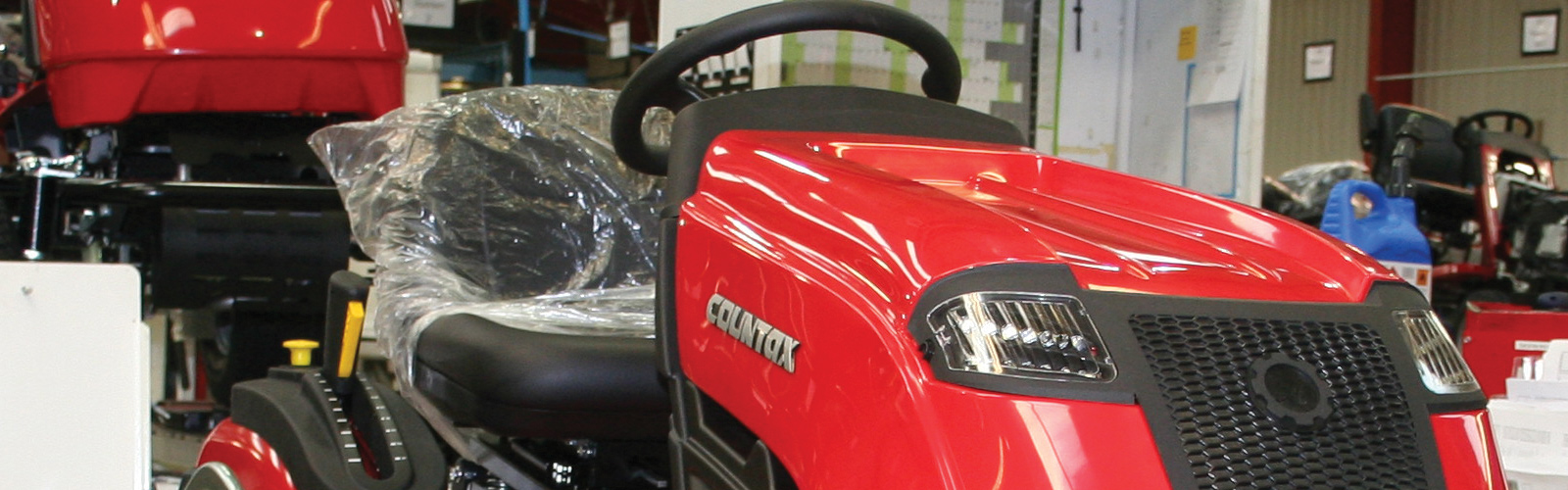 Countax lawn garden tractor mower on assembly line