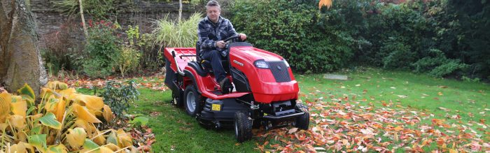 Countax C Series with PGC+ collecting leaves in the autumn